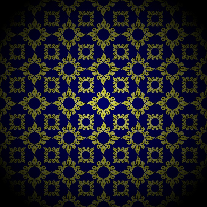Blue Gold Damask Background