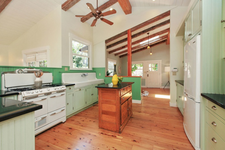 Large Kitchen With Green Wall Decor