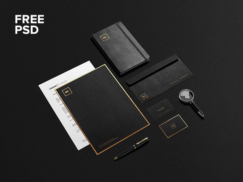 Black and Gold Stationary Mockup Design