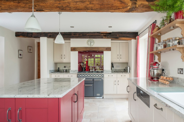 Cottage Kitchen With Red Accent.