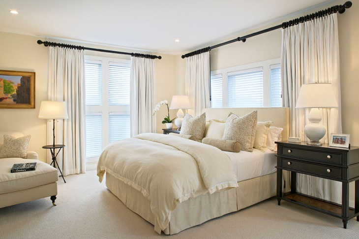 Bedroom White Curtains Idea