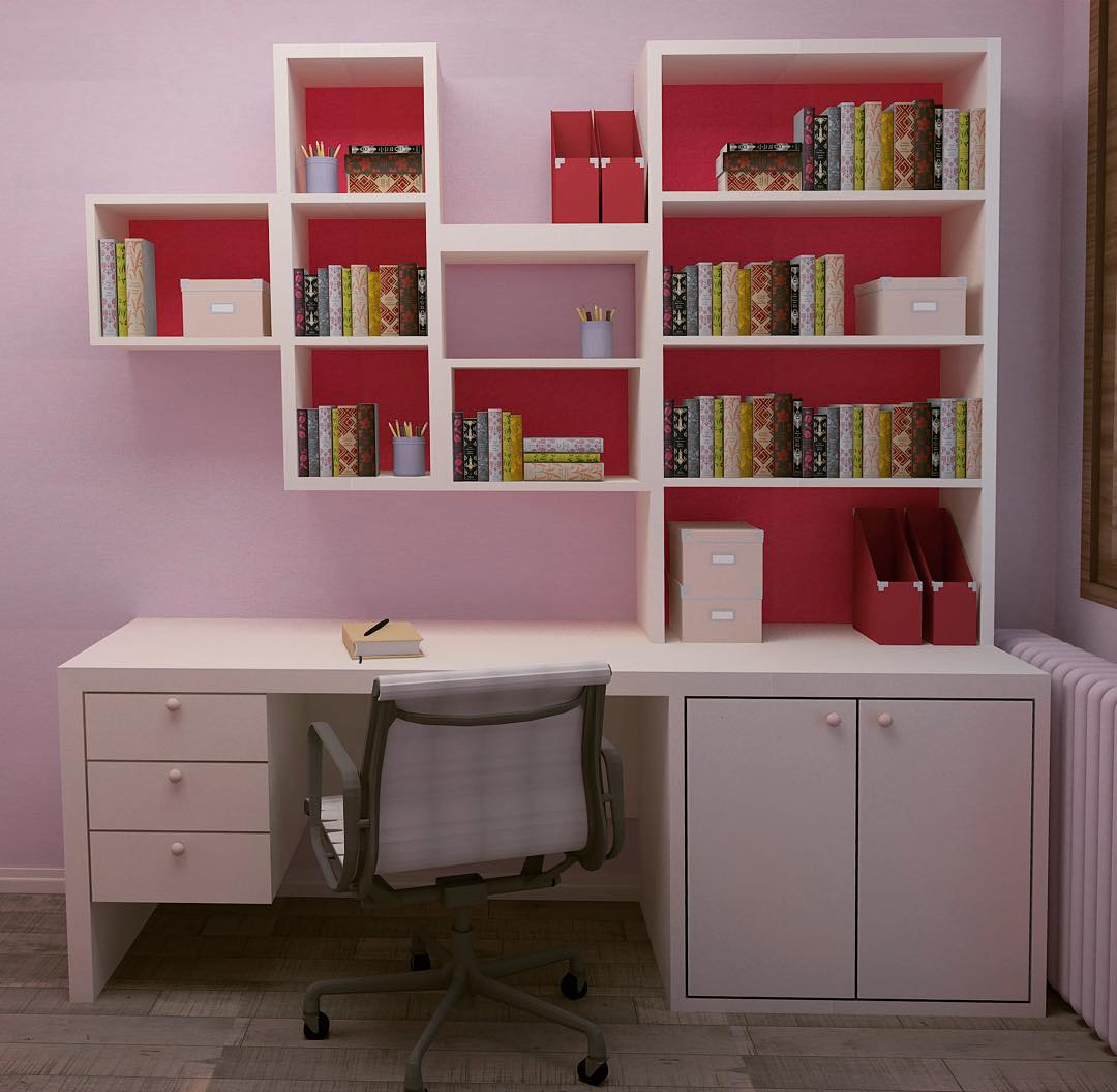 study-table-with-bookshelf-design &  designs of bookshelf with