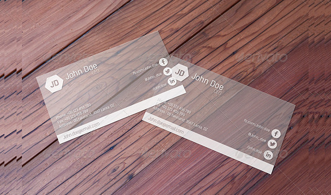 Transparent Business Card Mockup Ideas