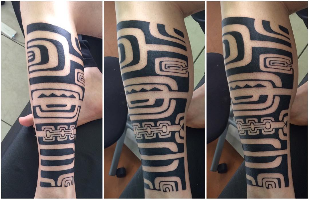 Polynesian Tattoo on Leg Ideas
