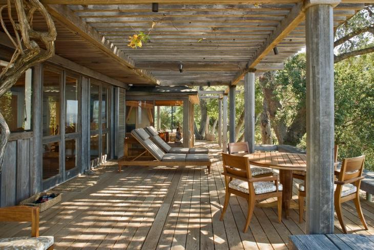 spacious rustic deck design