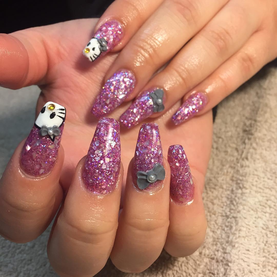 Glitter Bow Nail Design