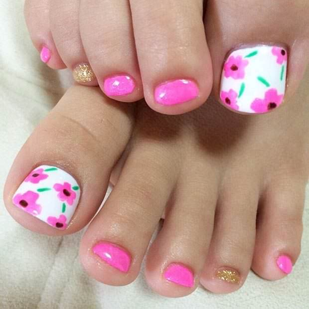Pink Flower Toe Nail Design