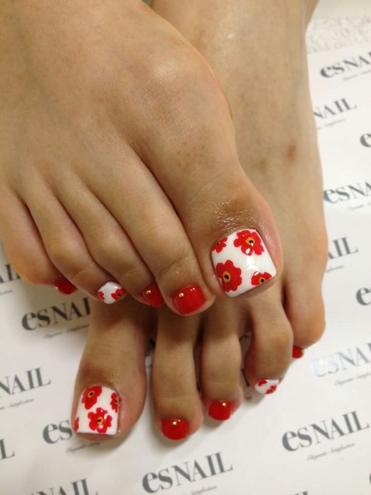 Red Flower Toe Nail Design