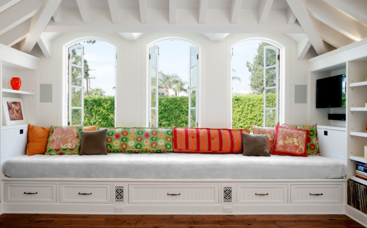 family room window seat design