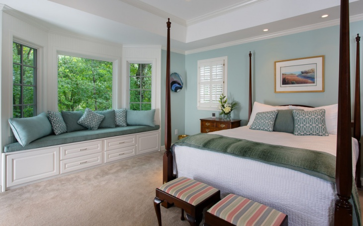 traditional bedroom window seat design