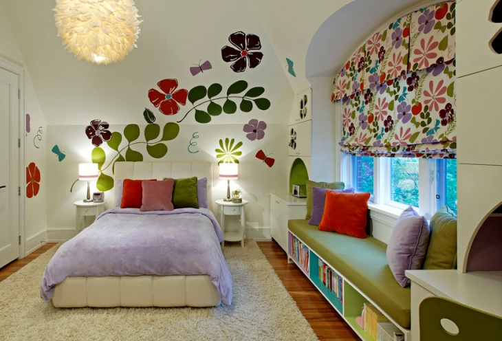kids bedroom window seat design
