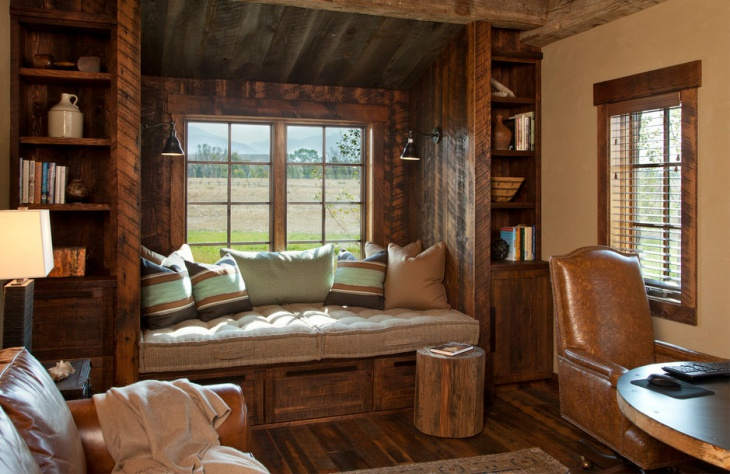 rustic window seat design
