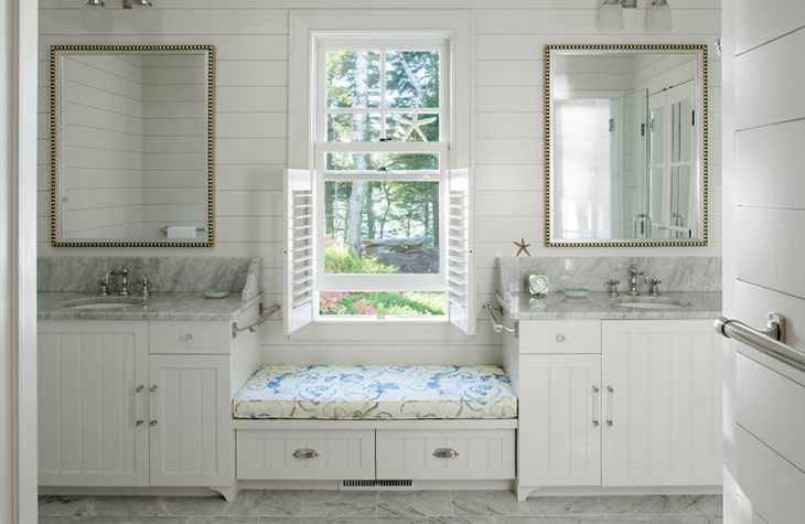 simple bathroom window seat design