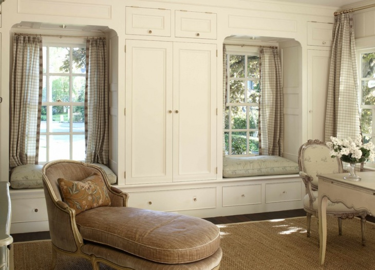 traditional window seat cabinets design