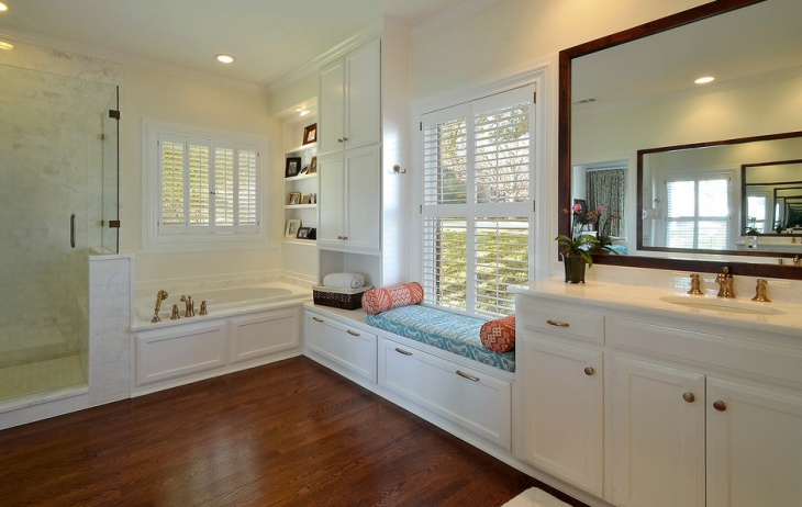 cool bathroom window seat design