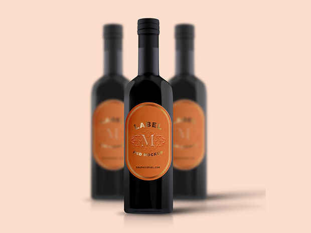 Realistic Wine Label Mockup