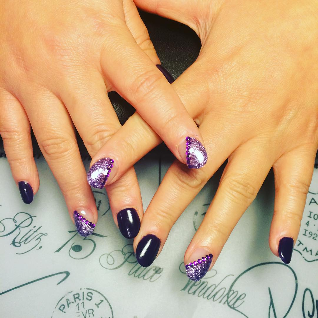 acrylic purple nail design