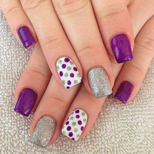 Gel Purple Nail Design, silver purple , dot pink, pink.