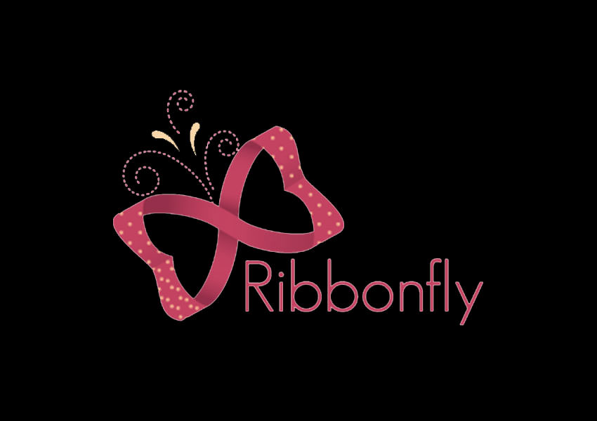 ribbon butterfly logo design