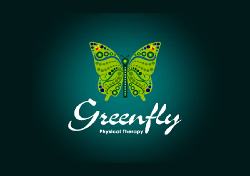 green butterfly logo design