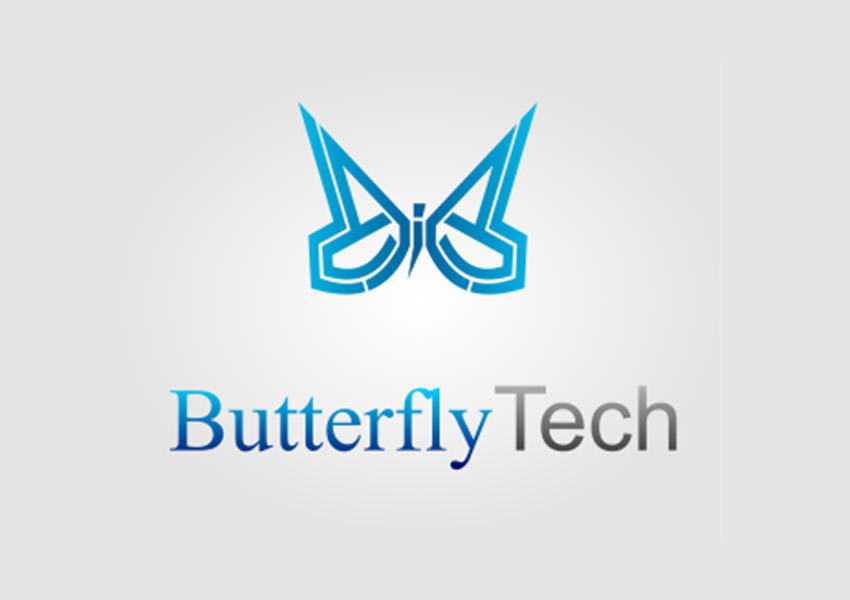 blue butterfly logo design
