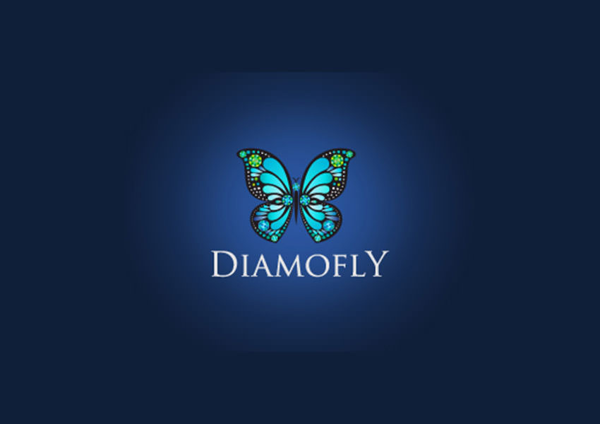 diamond butterfly logo design