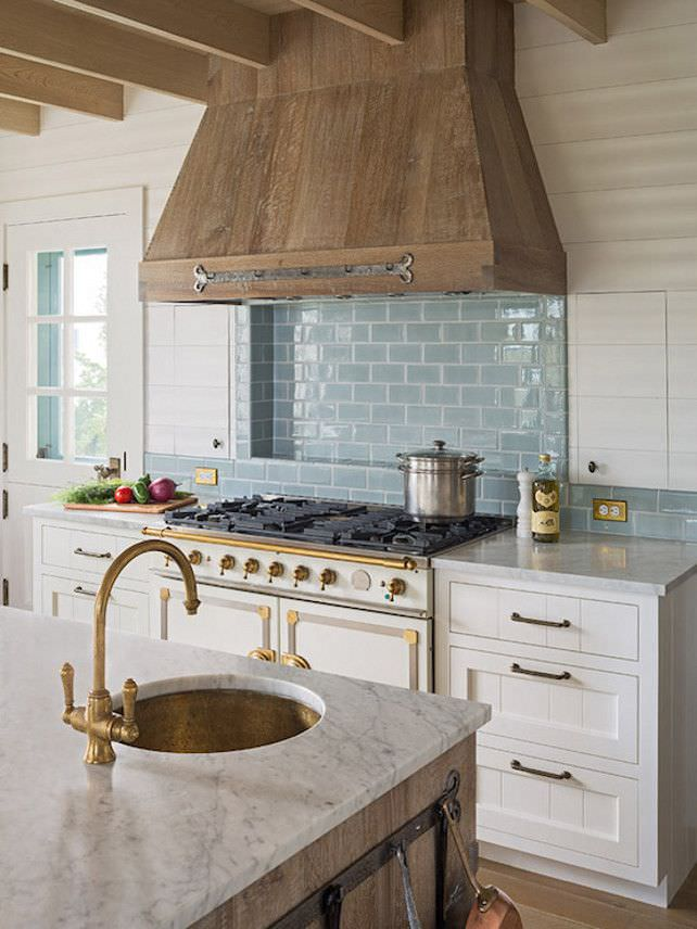 Rustic French Kitchen Design, stove, washing.
