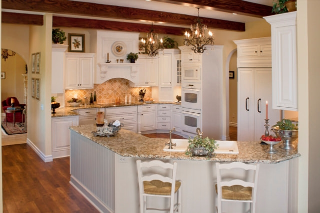 French Style Kitchen Design, lights, two chairs.