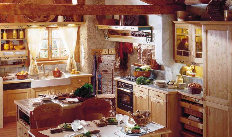 French Wooden Kitchen Design, table , window.