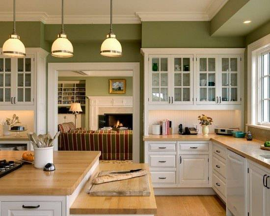 Beautiful French Kitchen Design, lights, furniture Kitchen.