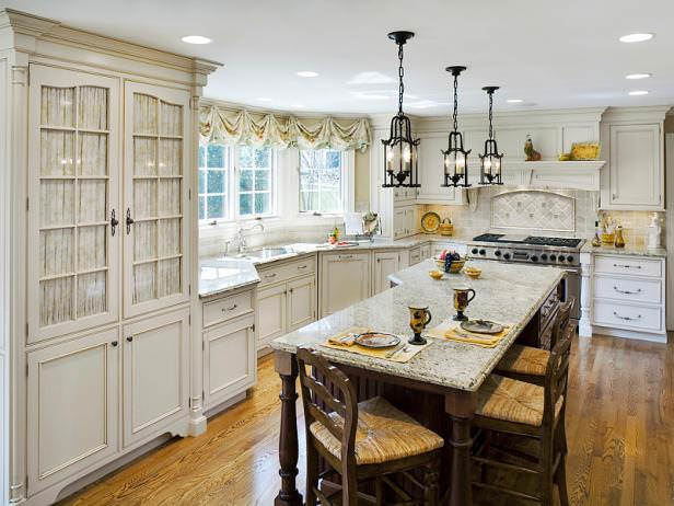 French Country Kitchen Design, dining table , windows