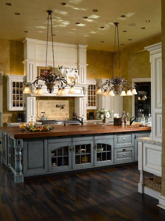 Gorgeous French Kitchen Design, Big lights.