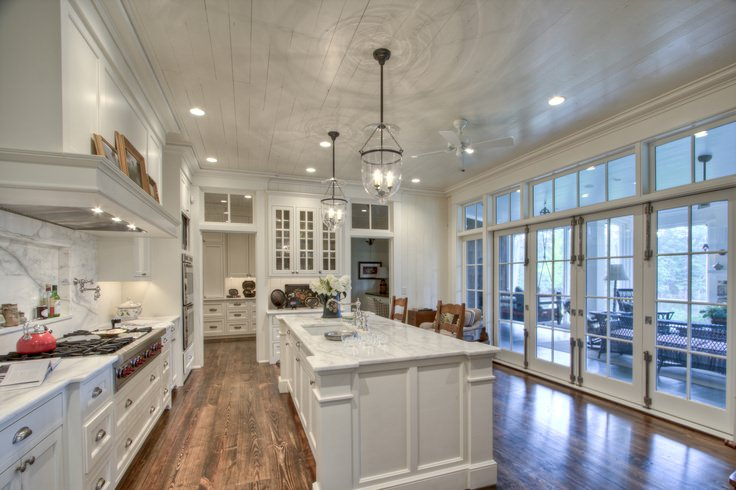 Classical Farm House French Kitchen Design, glass door , lights, white furniture .