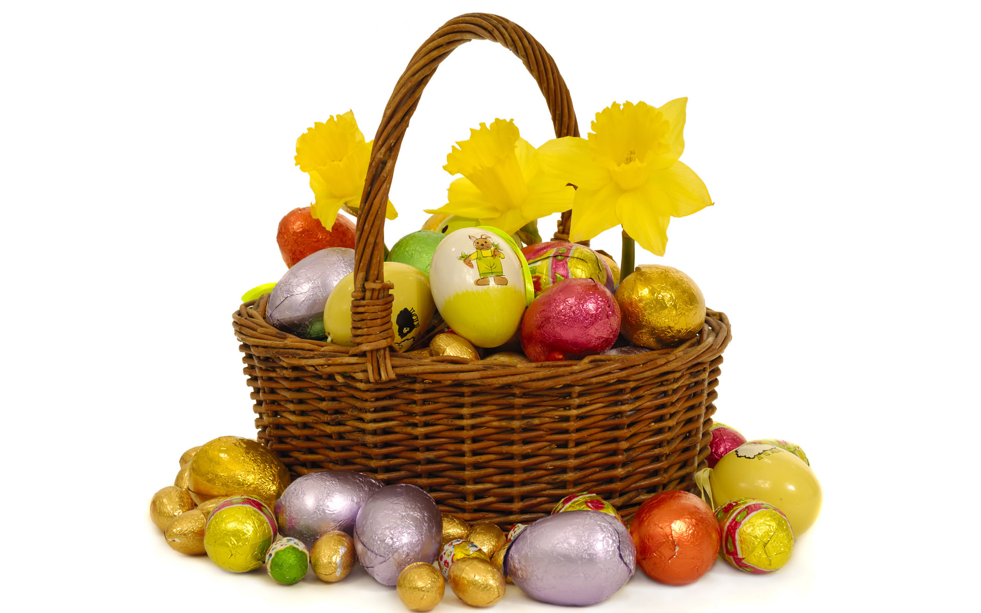 Easter,Background,Designs,Basket,Eggs,Flowers
