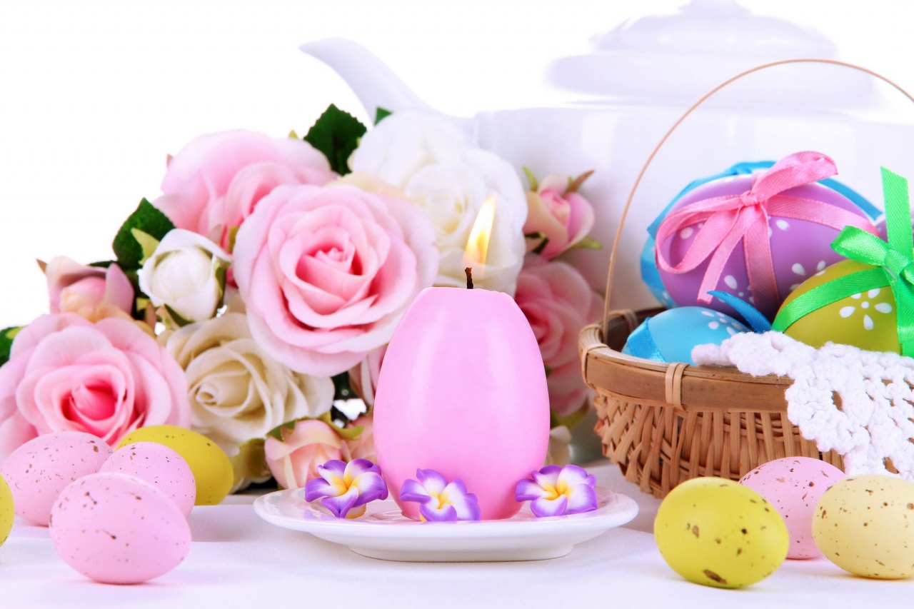 Easter,Background,Designs,Rose,Basket,Eggs,Ribbon