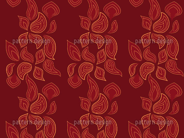 Fire Leaves Seamless Pattern on Red Background