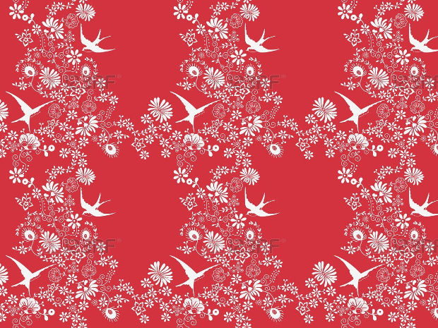 Flower Pattern Design on Red Background