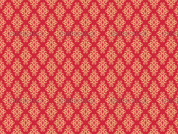 Damask Pattern Design on Red Background