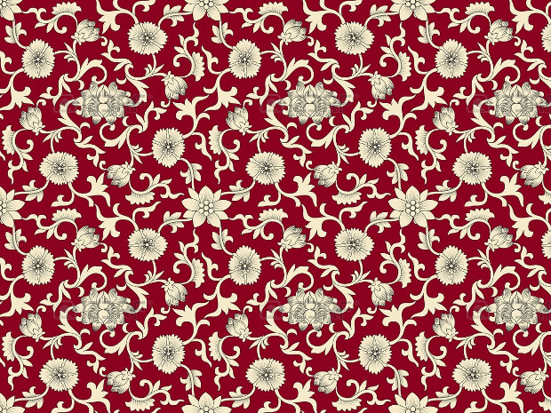 White Flowers on Red Pattern Design