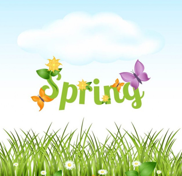 spring letters vector