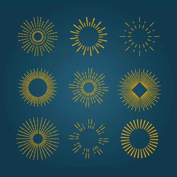 golden sunburst vector