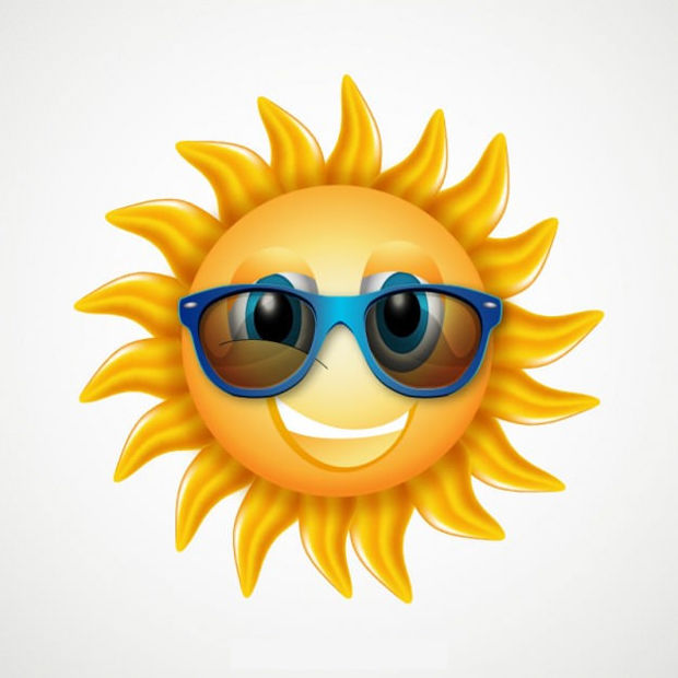 Cartoon Sun Vector with Glasses
