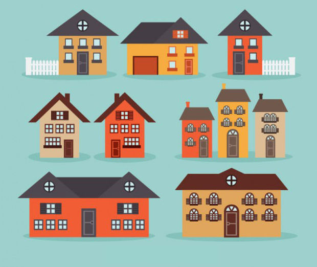 City Houses Collection Vector