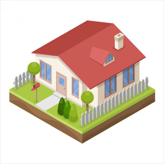 3D Styled House Vector