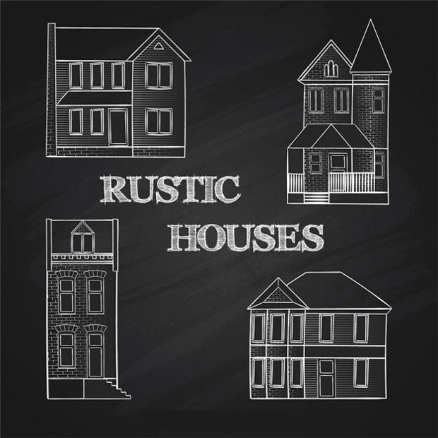 Rustic Houses Vector