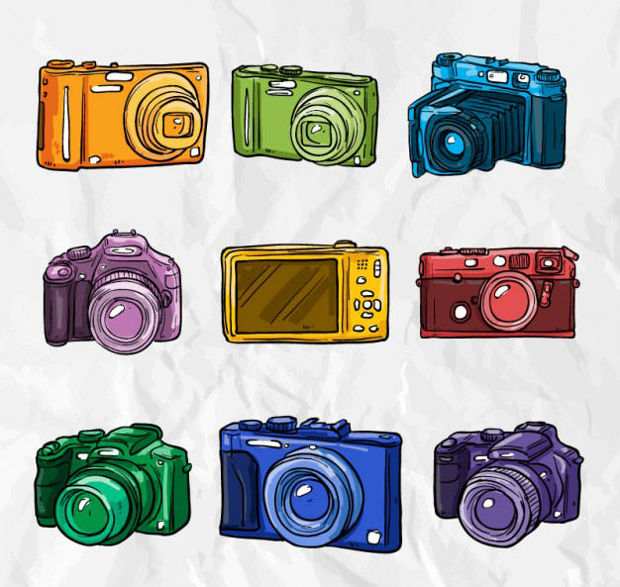 Colourful Hand Drawn Camera Vector