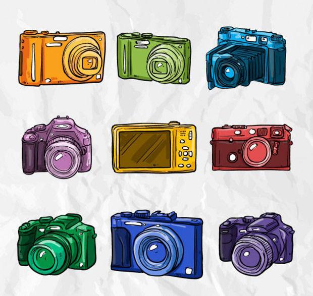colourful hand drawn camera vector