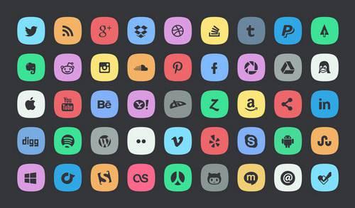 Social Media Buttons,Subtle Buttons,