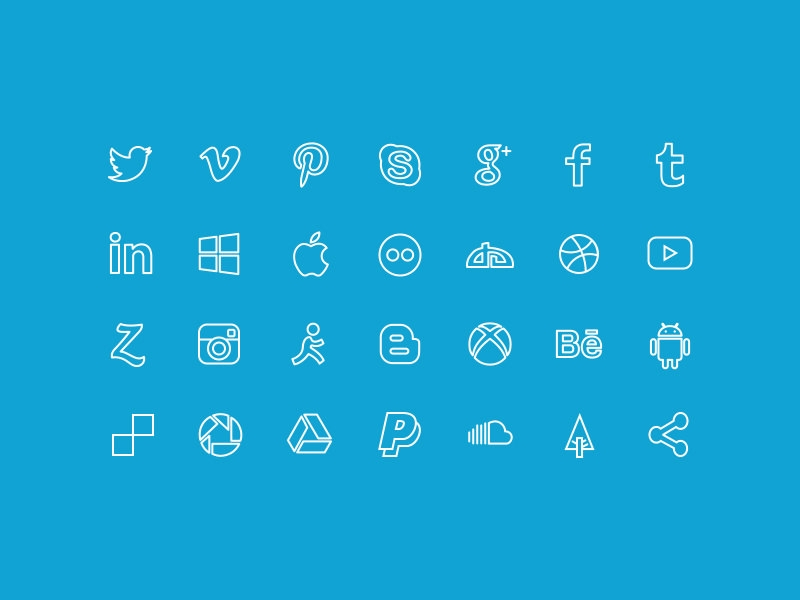 Lined Social Media Buttons,Facebook Icon,Freebie Icon