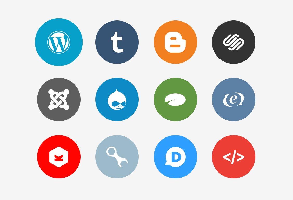 Social Media Buttons,Flat Buttons